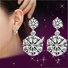 Women Elegant 925 Sterling Silver Cubic Zirconia Drop Stud Earrings Jewelry Gift
