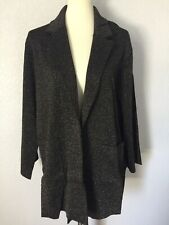 NWT J Crew Sophie Open Front Sweater Blazer XXL Black Sparkly Gold Metallic 2XL