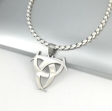 Silver Poison Symbol Biohazard Pendant 3mm White Braided Leather Choker Necklace