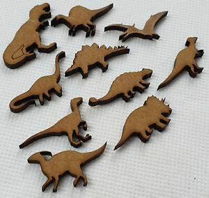 Card making DINOSAUR shapes laser cut mdf hobby craft cool project 20 pack, 60mm