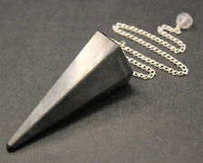 Shungite Pendulum, Faceted with Chain (Crystal Pendulum, Dowsing, EMF)