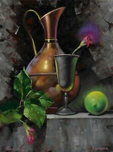 original painting 30 x 40 cm 4OE art samovar Modern oil still life