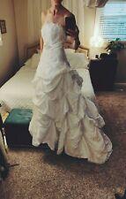 NEW White Wedding Dress sz 2 - 4 White Strapless Princess Ball Gown Train Beaded