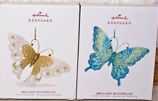 Hallmark Brilliant Butterflies Series 2018 & 2019 Christmas Ornaments, Mint!