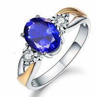 925 Sterling Silber Damen Ring blau Sapphire Stein verstellbar women silver ring