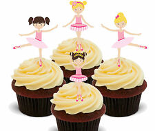 Ballerinas Edible Cupcake Toppers, Standup Fairy Cake Decorations Girl Ballet