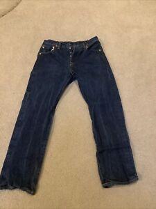 Levi 501 Jeans Mens Straight Leg Button Fly Dark Wash Denim Size 31x30