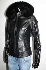 ITALIAN HANDMADE WOMEN LEATHER JACKET REMOVABLE HOOD WITH FUR SIZE L BLACK