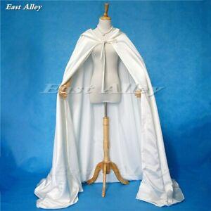Bridal Cape Hooded Satin Wedding Cloak Costume Renaissance Medieval Clothing