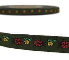 """2 Yd Ladybug Lady Bug Flower Green Woven Jacquard Ribbon Trim 1/2""""W"""
