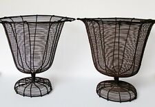 Pair of Antique Victorian Wire Urn Planters