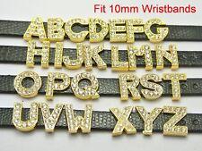 "26 Gold Alloy Rhinestone Alphabet Letter ""A-Z"" Slide Charm Fit 10mm Wristbands"