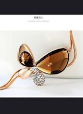 Fashion Crystal Rhinestone Butterfly Pendant Necklace