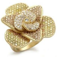 Cubic Zirconia Statement Yellow Gold Filled Costume Rings