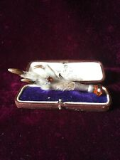 Antique Victorian Silver And Citrine Grouse Foot Brooch