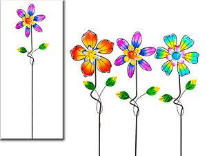 Gartenstecker Blüte Blume Windrad 90 cm (923671) Beetstecker Gartendeko Stecker