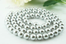 70pcs Beads-12mm Light Grey/Silver Imitation Acrylic Loose Round Pearl Spacer