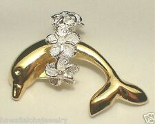 26mm Hawaiian 2-Tone Sterling Silver 14k YG Plated Dolphin Lei CZ Slide Pendant