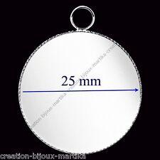 10 pendentifs supports métal argenté pour Cabochon de 25 mm