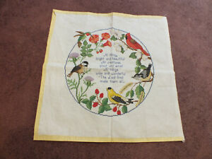 """Collectible Cross Stitch Sampler Birds """"All Things Great and Small"""" Ready to Fra"""