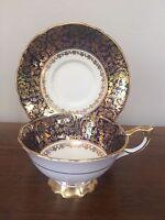Royal Stafford COBALT BLUE & GOLD FLORAL Footed Cup & Saucer Set