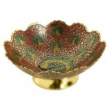 Brass Decorative Dry Fruit Bowl (9 inch, Red)