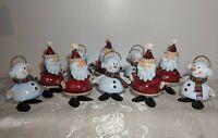 Set/ 10 Tin Christmas Figurines - 5 Santas & 5 Snowman - Holiday Decorations