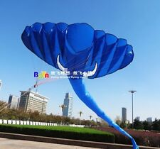 NEW 4m single line Stunt blue Elephants POWER Sport Kite outdoor toys