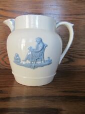 Vintage Wedgwood Queensware Blue On White 5.5 Inch Pitcher