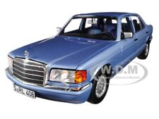 1991 MERCEDES BENZ 560 SEL PEARL BLUE METALLIC 1/18 DIECAST CAR BY NOREV 183464