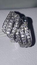 925 STERLING SILVER STIMULATED DIAMOND RHODIUM PLATED  HUGGIE LEAVE EARRINGS