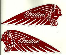 "2 X ""INDIAN MOTORCYCLE FUEL TANK"" Vinyl Decal Sticker CHIEF HOG CAFE RACER SCOUT"