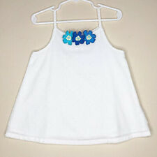 Gymboree Size 4 Girls White Top Swiss Dot Blue 3-D Flowers Lined Side Zip Easter