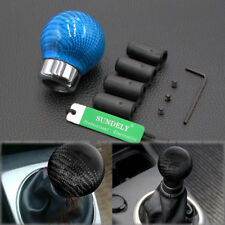 Carbon  Light Blue Ball Gear Shift Shifter Knob For Manual Transmission Stick