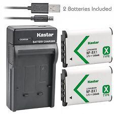 Kastar 2 Battery & Slim USB Charger for Sony NP-BX1 X-SERIES NPBX1/M8