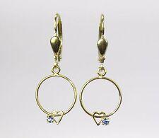 Ohrhänger Ohrringe lang Herz mit Stein blau 375 Gold NEU