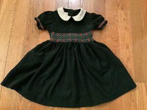 VTG LAURA  ASHLEY Girls 3 Dark Green Corduroy Smocked & Embroidered Dress