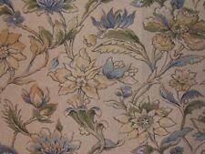 """Highland Court """"Morning Flower"""" embroidered floral brocade remnant, natural/blue"""