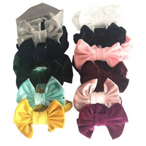 Handmade Velvet Turban Bows Headband Baby Kids Elastic Knot Hair Band Head Wrap