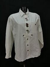 Gr.XL Trachtenhemd weiß Baumwolle Edelweiß Rucksack Stickerei Hemd TH1458