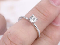 0.62 Ct Round Cut Diamond Engagement Ring 14K Real White Gold Rings Size 5 6 7