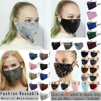 Glitter Face mask Sparkly Sequin 3D Covering Ladies Mouth Masks Washable Bling