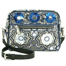 Steve Madden Duke Beaded Retro Small Hand Crafted Cotton Crossbody Blue $88