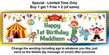1st Baby Birthday Party Banner Sign or any age, CLOWN, CIRCUS THEME, BUNTING