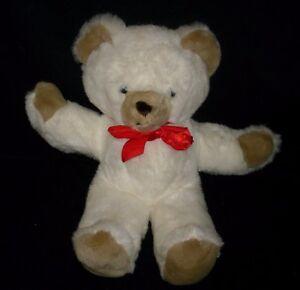 "14"" VINTAGE EDEN BABY WHITE TEDDY BEAR BROWN HANDS EARS STUFFED ANIMAL PLUSH TOY"