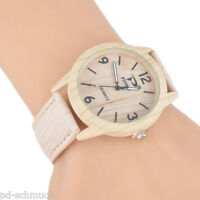 Damen Herren Uhr Armbanduhr Analog Quarzuhr Holz Natur Lederband Beige 24cm