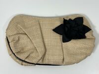DUNE Natural Woven Clutch Bag with 3d Flower Embellishment
