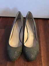 New Jessica Simpson Wedges Women's Size 8 Gray Suede Embellished Shoes Gems