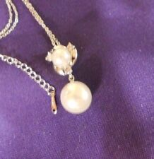"""Necklace Fashion Silver Chain with double Pearl & Crystal Pendant w/chain 18-20"""""""