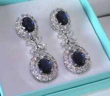 Women Statement Blue Sapphire Sim Diamond Gold GF Drop /Dangle Earrings, BOXED